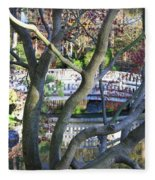 Springtime Bridge Through Japanese Maple Tree Fleece Blanket