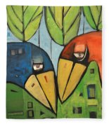 Springtime Lovebirds Fleece Blanket
