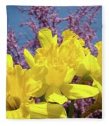 Springtime Yellow Daffodils Art Print Pink Blossoms Blue Sky Baslee Troutman Fleece Blanket