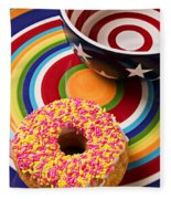 Sprinkled Donut On Circle Plate With Bowl Fleece Blanket