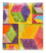 Square Cubes Abstract Fleece Blanket
