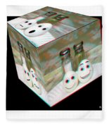 Square Meal - Use Red-cyan 3d Glasses Fleece Blanket
