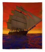 Square-rigged Ship At Sunset Fleece Blanket