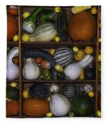 Squash And Gourds In Compartments Fleece Blanket