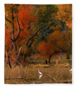 Squaw Creek Egrets Fleece Blanket