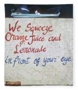 Squeezed Juice Sign Fleece Blanket