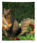 Squirrel Eating Pizza Fleece Blanket