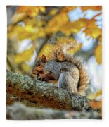 Squirrel In Autumn Fleece Blanket