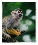 Squirrel Monkey Looking Up Fleece Blanket