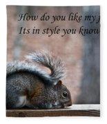 Squirrel With Fur Collar Fleece Blanket