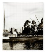 Steam Schooner Helene At San Padero Fleece Blanket