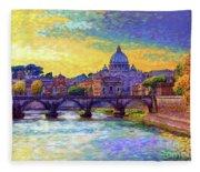 St Angelo Bridge Ponte St Angelo Rome Fleece Blanket