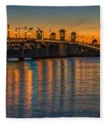 St Augustine Bridge Of Lions Sunset Dsc00433_16 Fleece Blanket