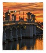 St Augustine Bridge Of Lions Sunset Dsc00565_16 Fleece Blanket