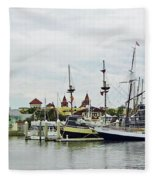 St Augustine Marina From The Water Fleece Blanket