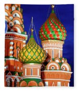 St Basils Cathedral In Moscow Russia Fleece Blanket