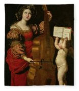St. Cecilia With An Angel Holding A Musical Score Fleece Blanket