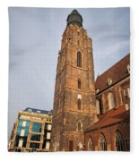 St. Elizabeth's Church Tower In Wroclaw Fleece Blanket