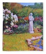 St. Francis In The Garden Fleece Blanket