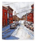 St Henri Depanneur Canadian Paintings Mini Montreal Masterpieces For Sale Petits Formats A Vendre  Fleece Blanket