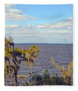 St. Johns River Meets The Ocean Fleece Blanket