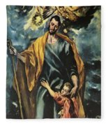 St Joseph And The Christ Child 1599 Fleece Blanket