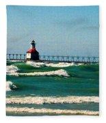 St. Joseph River Lighthouse Fleece Blanket