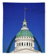 St Louis City Hall With Arch In Background Fleece Blanket
