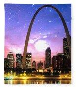 St Louis Skyline As Night Falls Fleece Blanket