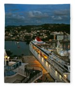 St. Lucia In The Evening Fleece Blanket