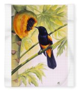 St. Lucia Oriole And Papaya Fleece Blanket