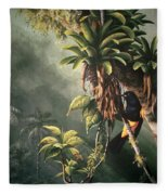 St. Lucia Oriole In Bromeliads Fleece Blanket