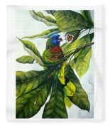St. Lucia Parrot And Fruit Fleece Blanket