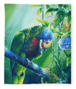 St. Lucia Parrot And Wild Passionfruit Fleece Blanket