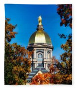 St Mary Atop The Golden Dome Of Notre Dame Fleece Blanket