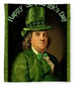 St Patrick's Day Ben Franklin Fleece Blanket