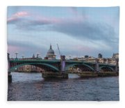 St. Paul's Cathedral Behind The Southwark Bridge During Sunset Fleece Blanket