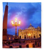 St. Peters Cathedral At Night Fleece Blanket