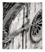 St. Saviour Church Window - Black And White Fleece Blanket