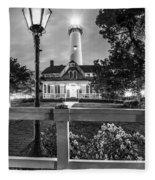 St. Simons Lighthouse Black And White Fleece Blanket
