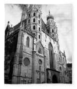 St Stephens Cathedral Vienna In Black And White Fleece Blanket
