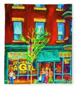 St Viateur Bagel Shop Fleece Blanket