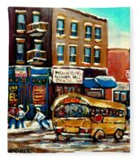 St. Viateur Bagel With Hockey Bus  Fleece Blanket