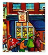 St. Viateur Bagel With Hockey Fleece Blanket
