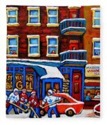 St Viateur Bagel With Hockey Montreal Winter Street Scene Fleece Blanket