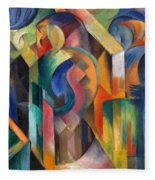 Stables By Franz Marc Bright Painting Of Horses In A Stable Fleece Blanket