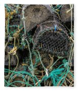 Stacked Crab Traps Fleece Blanket