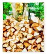 Stacked Fire Wood In Preparation For Winter 2 Fleece Blanket