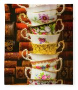 Stacked High Tea Cups Fleece Blanket