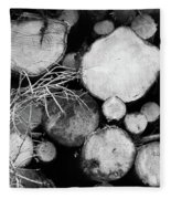 Stacked Wood Logs In Black And White Fleece Blanket